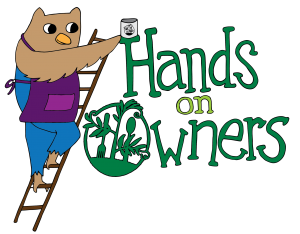Hands on Owner logo. An Owl in overalls and an apron on a ladder. Ladder is propped against text that reads Hand on Owners.